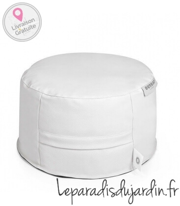 cuir light Ottoman round Donut fabric coloris blanc
