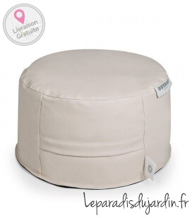 cuir skin Ottoman round Donut fabric coloris ivoire