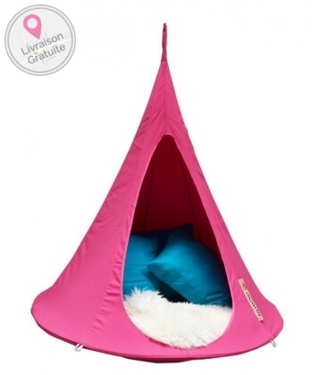 Small suspended hammock tent Cacoon Bonsai color Fuchsia