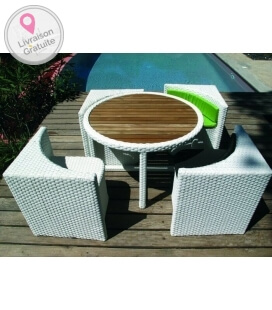 ensemble quattro table et chaise rangement sous la table