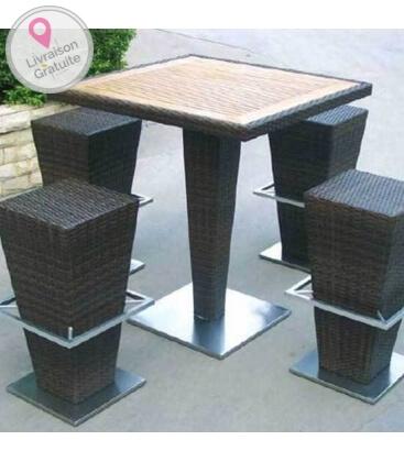 ensemble fusyon table et chaise pour espace bar extérieur
