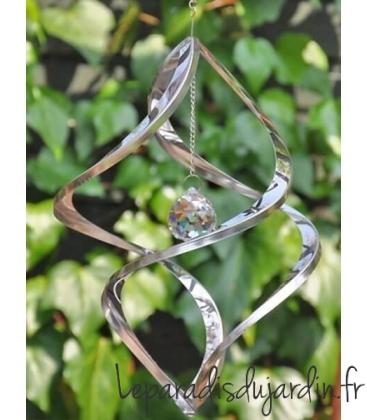 éolienne ou ornement décoratif avec crystal au centre pour extérieur