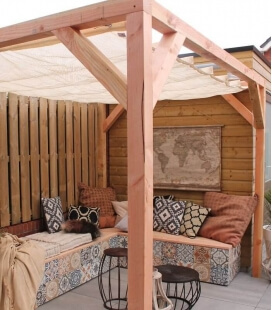 Pergola douglas freestanding wood complete with turntable kit boat full color choice Nesling