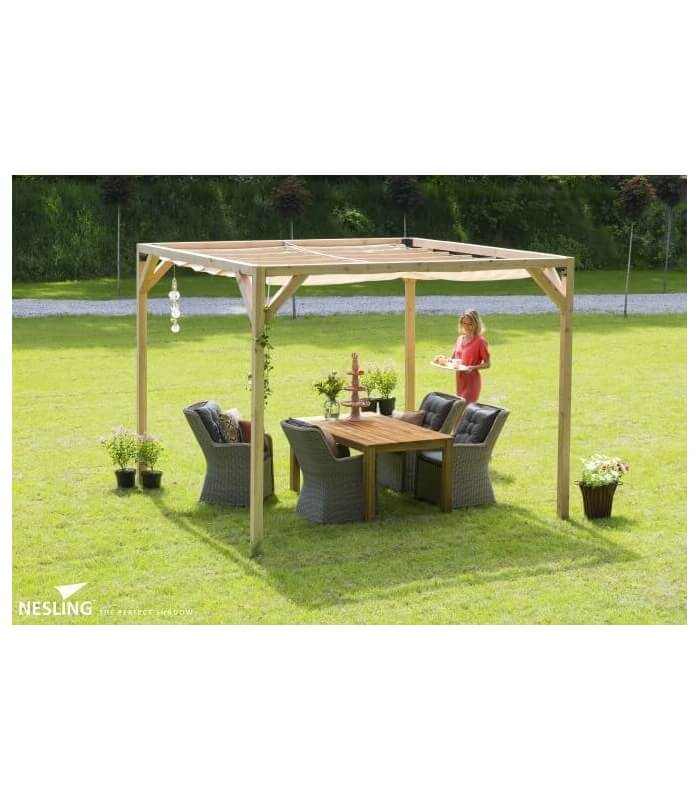 pergola bois douglas avec store bateau et fixation nesling. Black Bedroom Furniture Sets. Home Design Ideas