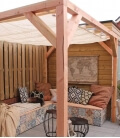 Pergola wood douglas nesling complete mural 2 with horizontal blinds boat and mounting plate wall2