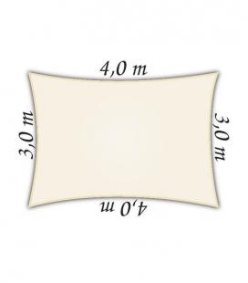 Voile d'ombrage rectangle 3x4m Densité 285Gr Nesling Couleur crème/porcelaine