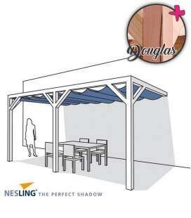 Pergola complete wood douglas wall 2 with blind velum hdpe and kit assembly Nesling