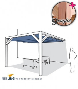 Pergola wall wood 1 Douglas complete with kit assembly and awning pergola hdpe