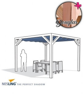 Freestanding Douglas Fir wood pergola complete with boat blind and Nesling fixing kit