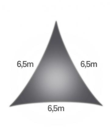 Voile Triangle 6,5m Commerciale garantie 15 ans coolaroo 340gr/m² graphite