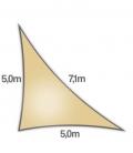 Voile triangle rectangle 5x5x7,1m Dens 285Gr nesling ajouré hdpe coloris Sable