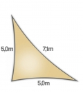 Voile triangle rectangle 5x5x7,1m Dens 285Gr nesling ajouré hdpe coloris Sable