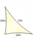 Voile triangle rectangle 5x5x7,1m Dens 285Gr nesling ajouré hdpe coloris Crème