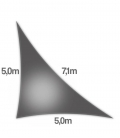 Voile triangle rectangle 5x5x7,1m Dens 285Gr nesling ajouré hdpe coloris Anthracite