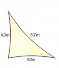 Shade sail 4x4x5,7m Density 285Gr triangle rectangle openwork Nesling cream color