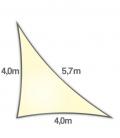 Voile d'ombrage 4x4x5,7m Densité 285Gr triangle rectangle ajouré Nesling coloris crème