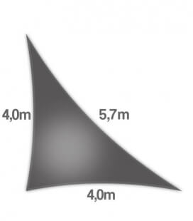 Voile d'ombrage Triangle Rectangle 4x4x5,7m Nesling