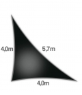 Shade sail 4x4x5,7m Density 285Gr triangle rectangle openwork Nesling color black