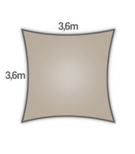 Square sail 3,6m Everyday coolaroo quality 205gr / m² Colors beech beech