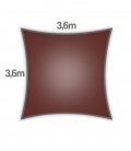 Voile d'ombrage 3,6m carré Densité 285Gr Nesling coloris terracotta