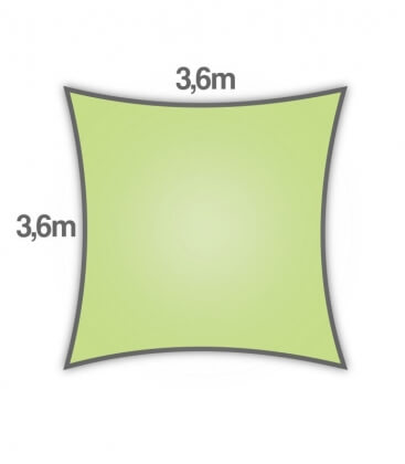 Shade sail 3,6m square Density 285Gr Nesling color lime green