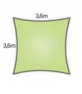 Voile d'ombrage 3,6m carré Densité 285Gr Nesling coloris citron vert