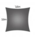 Voile d'ombrage 3,6m carré Densité 285Gr Nesling coloris anthracite