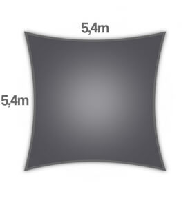shade sail Coolaroo Commercial 340gr 5,4m square warranty 15 years professional color graphite