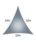 Coolaroo Everyday 3m triangle 205gr/m² qualité particulier 5mm coloris ardoise - slate