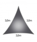 Coolaroo Everyday 3m triangle 205gr/m² qualité particulier 5mm coloris graphite
