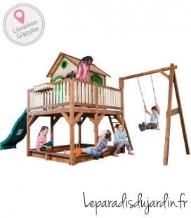 Maisonette sandbox Liam + swing with sandbox and piles brand axi wood untreated