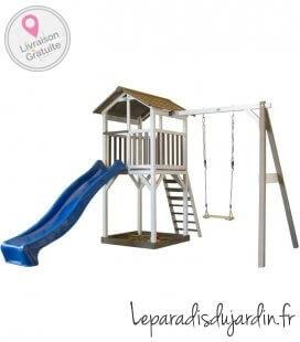 Tour de plage enfant Sunny Beach tower basic + balançoire avec toboggan en bois non traité