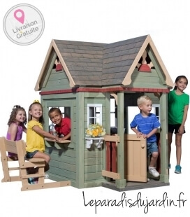 Cabane Enfant Victorian Inn backyard discovery tropical cedar plus accessories