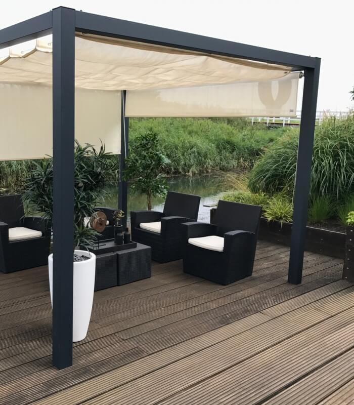 pergola aluminium autoportante nesling avec store bateau coolfit nesling. Black Bedroom Furniture Sets. Home Design Ideas