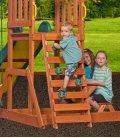 Aire de jeux enfant Sunnydale en bois exotique non traité par backyard garden avec balancoire, trapèze, toboggan