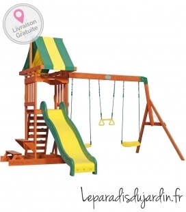 Untreated exotic wood Sunnydale children's play area by backyard garden with swing, trapeze, slide