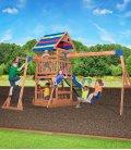 Aire de jeux enfant Northbrook en bois tropical non traité et accessoire, toboggan, aire de repas