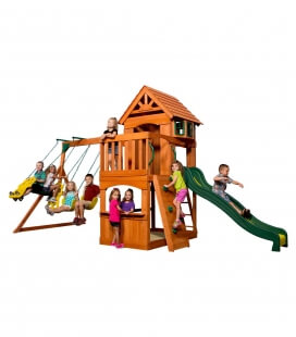 Atlantic children's play area in untreated exotic wood complete set of swing, castle and climbing wall backyard garden