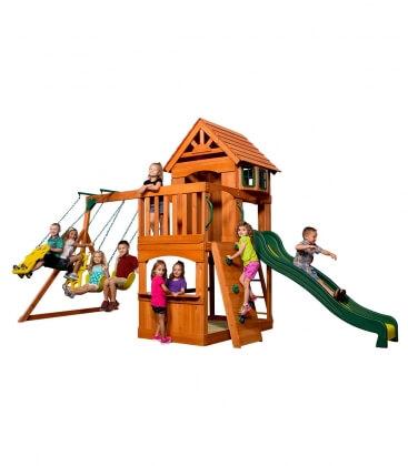 Aire de jeux enfant Atlantic en bois exotique non traité ensemble complet balacoire, chateau et mur d'escalade backyard garden