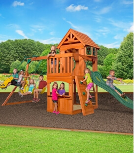 Atlantic childrens play area in untreated exotic wood complete set of gates, castle and climbing wall backyard garden