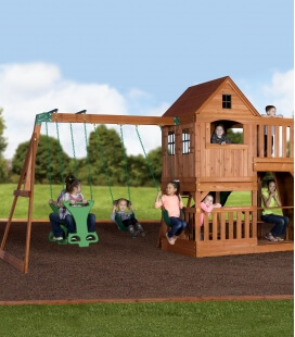 Huge Complete Children's Playground Hill crest untreated exotic wood by backyard garden