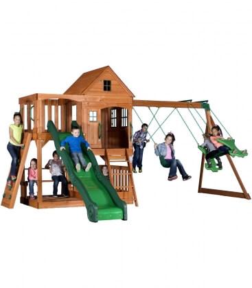 Immense Aire de jeux enfant Complet Hill crest bois exotique non traité par backyard garden
