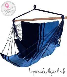 Hanging chair KONFORT fleece and elongated seat by jobek color Blue Caraĩbes