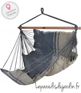 KONFORT hanging chair with elongated seat by jobek anthracite taupe
