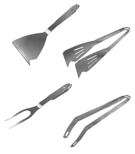 Set of 4 remundi stainless steel barbecue tongs