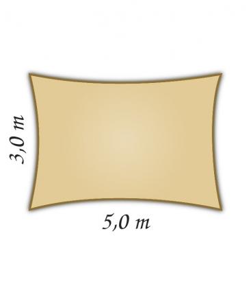 Voile rectangle 3x5m Densité 285gr hdpe Nesling coloris sable