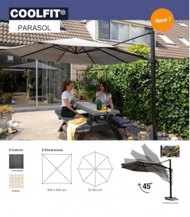 Parasol Coolfit classic Openwork density 285Gr hdpe Nesling with offset arm cream / off-white