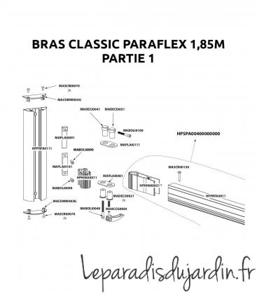 Pièces de rechange - Bras Paraflex Classic 1,85m Umbrosa partie 1