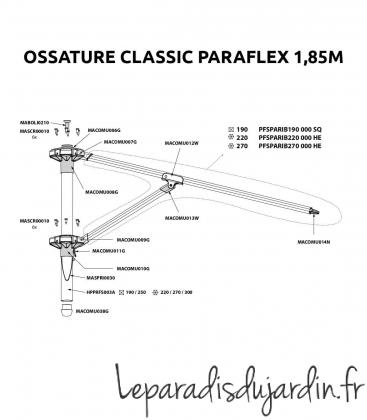 Pièces de rechange - Ossature Paraflex bras classic 1,85m
