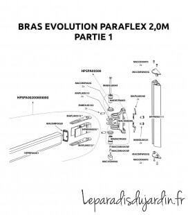 Pièces de rechange - Bras Paraflex Umbrosa Evolution 2016-2019